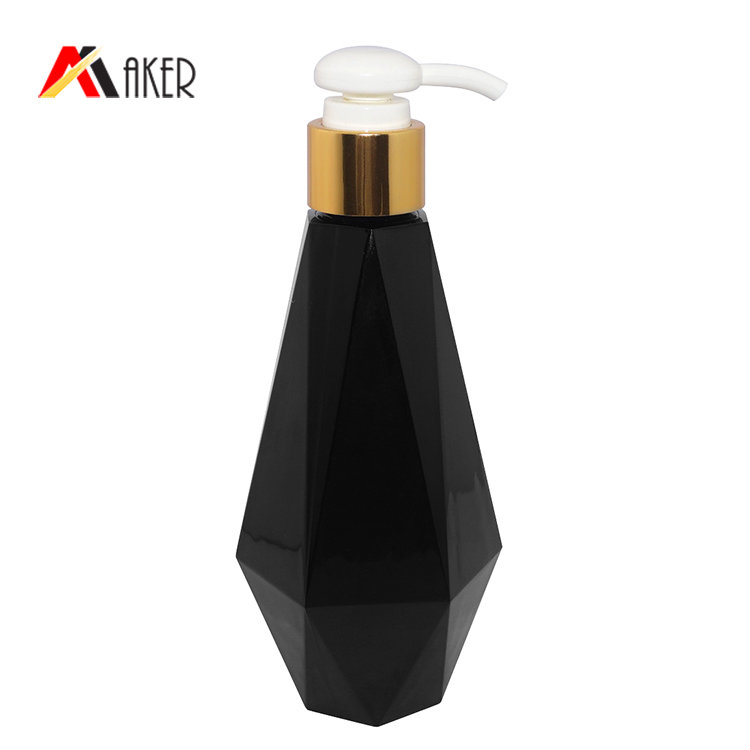 Wholesale 200ml PETG plastic bottle China manufacturer unique shape black shampoo bottle with lotion pump