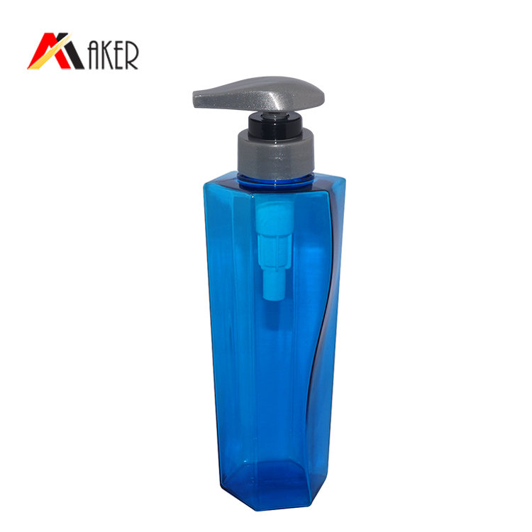 Factory price plastic shampoo bottle empty 350ml blue special square shape PETG plastic bottle wholesale with lotion pump