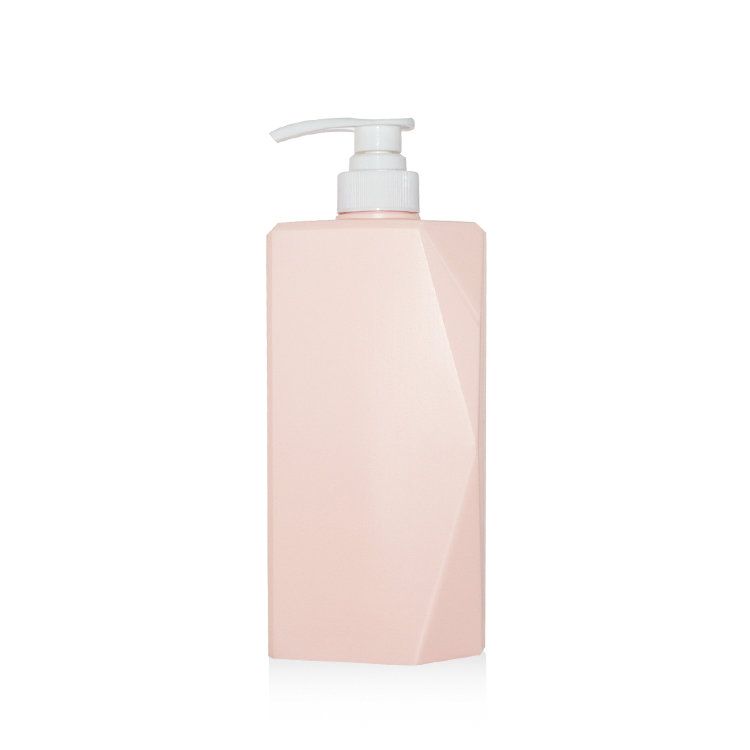 Wholesale price 650ml new unique square empty PE plastic shampoo bottle with lotion pump