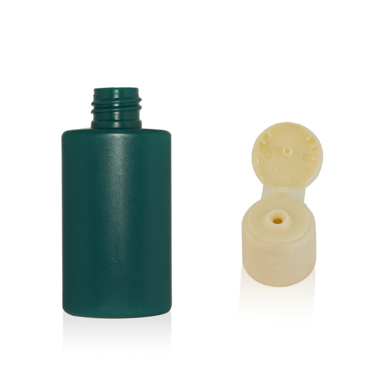 Empty green factory price 50ml PE plastic cosmetic sunscreen cream squeeze body lotion bottle with plastic flip top cap