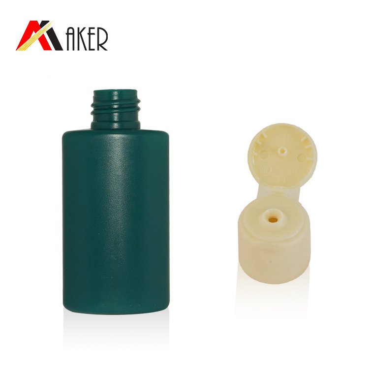 Factory price 50ml PE plastic bottle empty green flat cosmetic sunscreen cream bottle squeeze lotion bottle with flip top cap