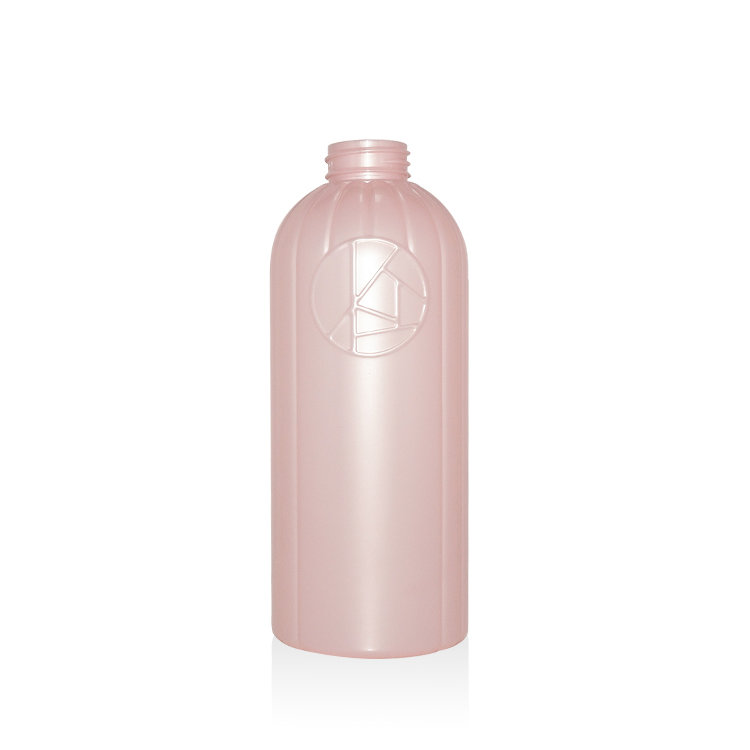China supplier new sample pink color 600ml Boston round PET plastic lotion pump shampoo bottle wholesale price