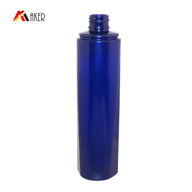 Empty PET plastic cosmetic hair care packaging bottle 150ml round blue shampoo bottle supplier with lotion pump cap
