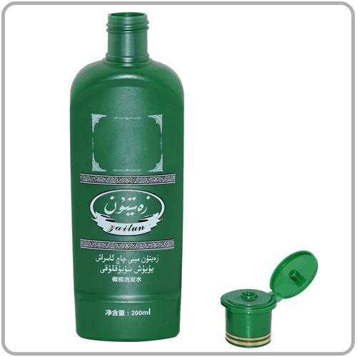 250ml PE Plastic Cosmetic Shampoo Bottle Opaque Green Plastic Bottle For Personal Care Products with flip top cap