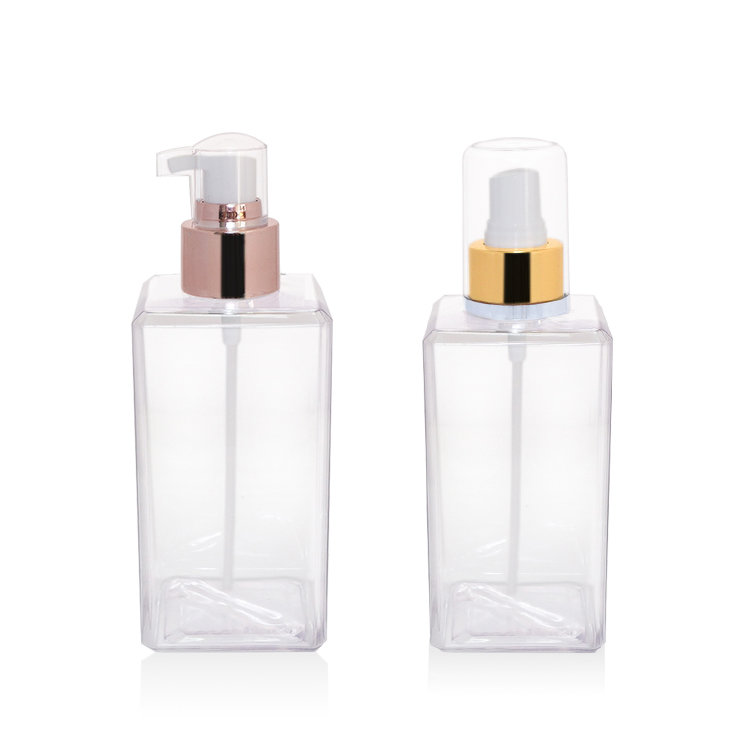 Empty 250ml clear plastic lotion bottle 2019 new square PETG body lotion plastic bottle with rose gold aluminum covered lotion pump