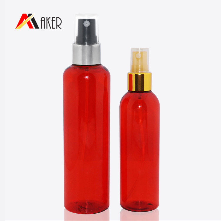 Empty plastic PET bottle wholesale custom 100ml 200ml boston round cosmetic plastic spray bottle with mist sprayer