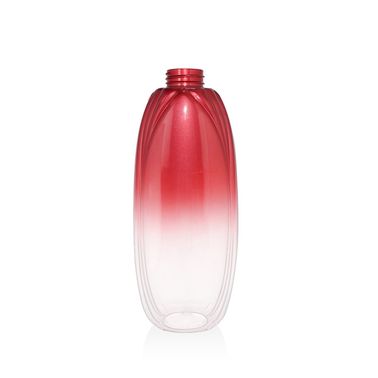 New arrival 750ml gradient painting red cosmetic PET plastic lotion shampoo bottle with lotion pump