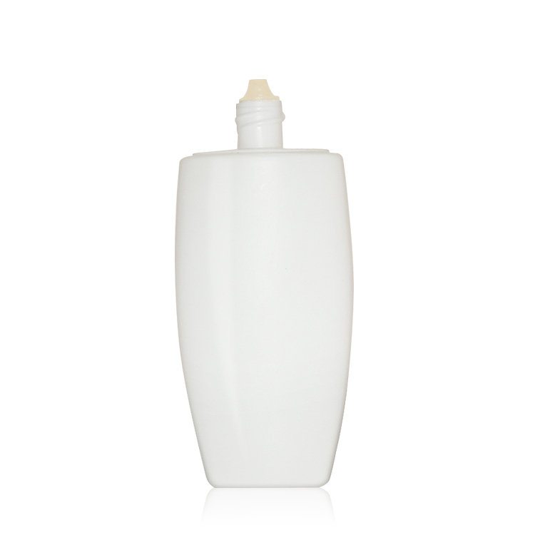 2019 new wholesale price empty white oval 50ml PE plastic cosmetic cream sunscreen lotion bottle with screw cap