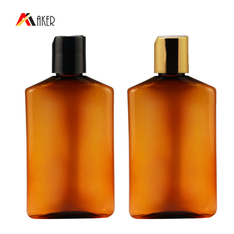 100ml 200ml plastic cosmetic bottle factory wholesale new semi-transparent amber flat PET shampoo bottle with flip top screw cap
