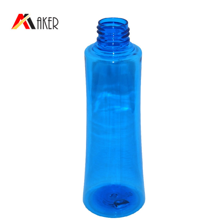 New 200ml PET shampoo bottle empty round semi-transparent blue plastic bottle for shampoo with lotion pump
