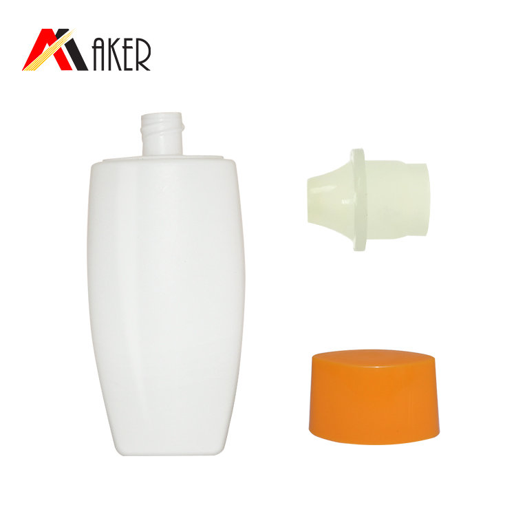 empty wholesale price PE cosmetic cream bottle 2019 new white oval 50ml sunscreen lotion bottle with screw cap