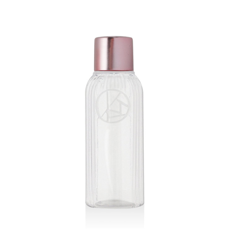 Wholesale custom design 50ml clear boston round PET plastic cosmetic body lotion bottle toner bottle with screw cap