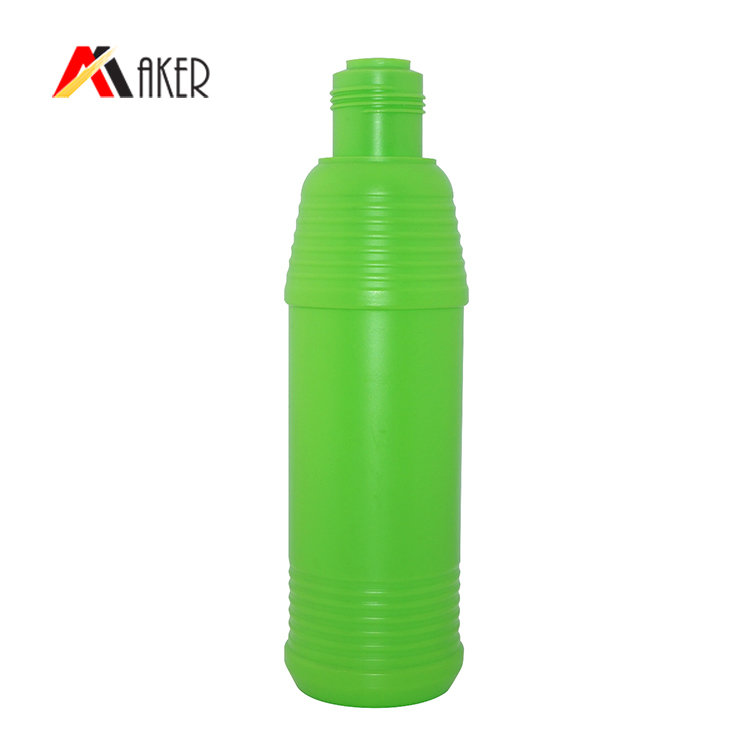 empty liquid detergent bottle manufacturer 800ml green round PE plastic bottle with screw cap