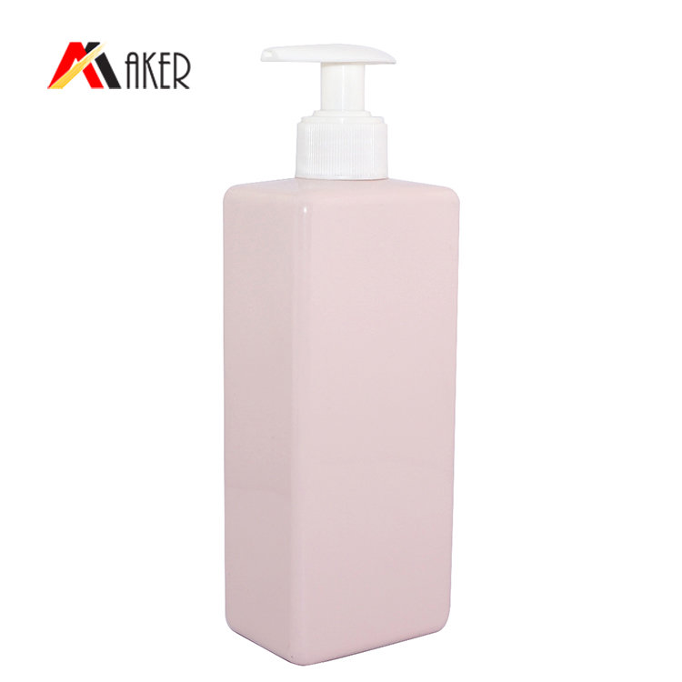 450ml square PET shampoo bottle factory supply pink plastic shampoo bottle wholesale with lotion pump