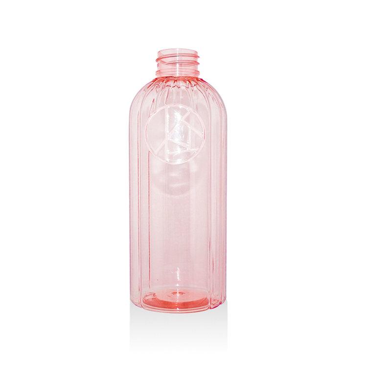 2019 Newest luxury design 350ml semi transparent Boston round plastic PET cosmetic lotion shampoo bottle with pump