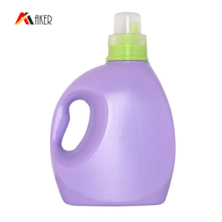 Wholesale price 1000ml 1300ml purple PE plastic liquid laundry detergent bottle with screw cap and handle