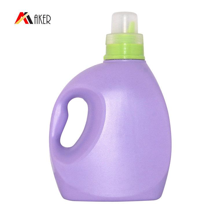 Wholesale price 1000ml 1300ml purple PE plastic liquid laundry detergent bottle with screw cap and handle