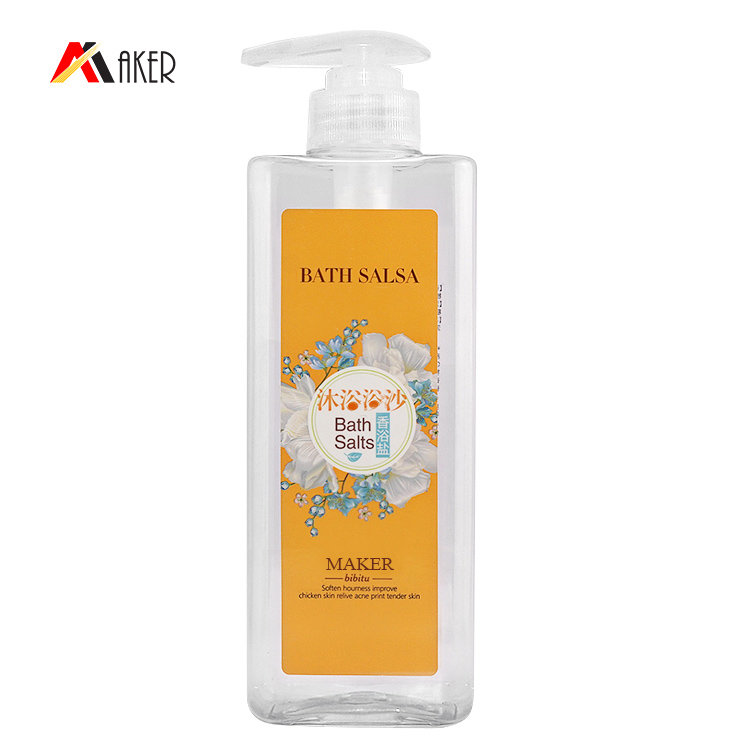 China supplier empty 500ml 550ml clear square shape PET plastic cosmetic shower gel shampoo bottle with pump