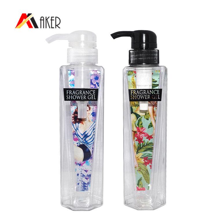 350ml plastic body wash bottle factory wholesale transparent cosmetic PET plastic shower gel bottle with lotion pump