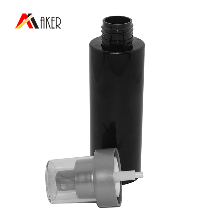 100ml cylinder PET cosmetic bottle factory wholesale facial toner black plastic spray bottle with mist sprayer