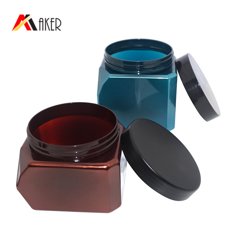 Empty 550ml 700ml square cosmetic jar new design blue coffee color PET hair care packaging plastic cream jar with screw cap