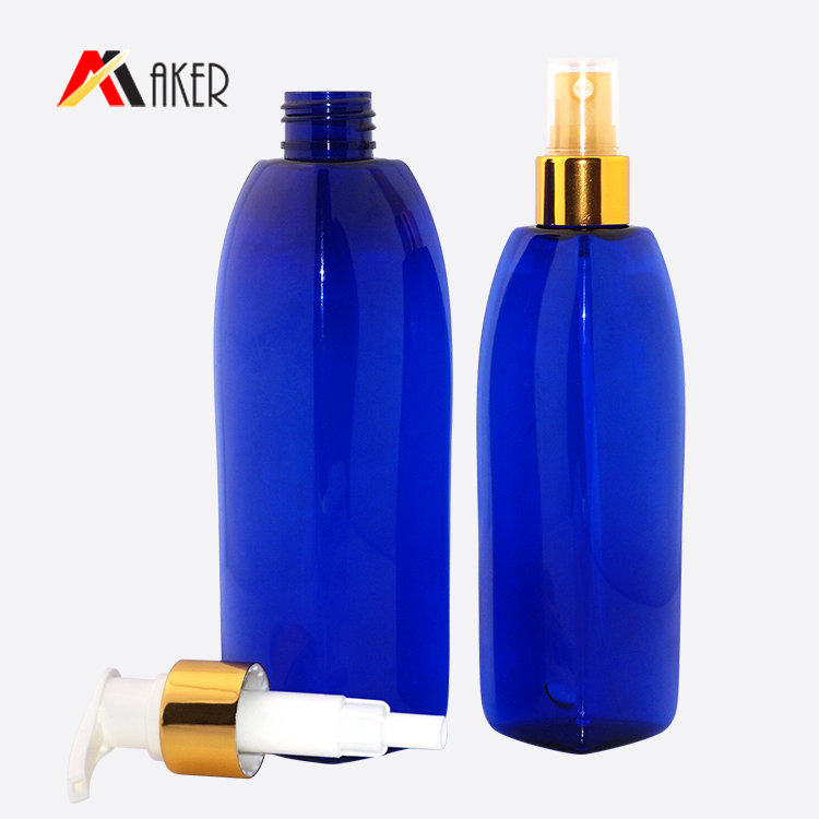 China wholesale plastic cosmetic facial toner bottle 150ml 200ml blue PET spray plastic bottle with pump sprayer