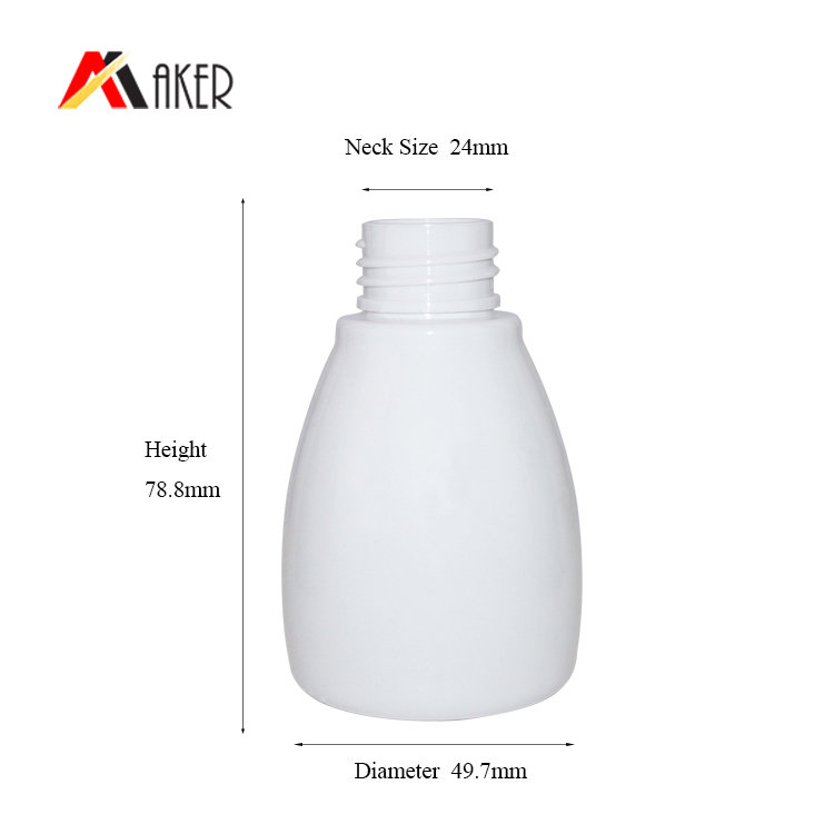 China factory unique round 90ml white PET plastic body lotion bottle with pump