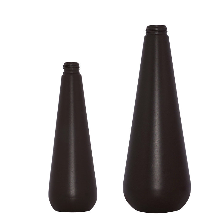 Factory price 350ml 1000ml PE plastic cosmetic bottle unique shape brown empty shampoo bottle set with lotion pump