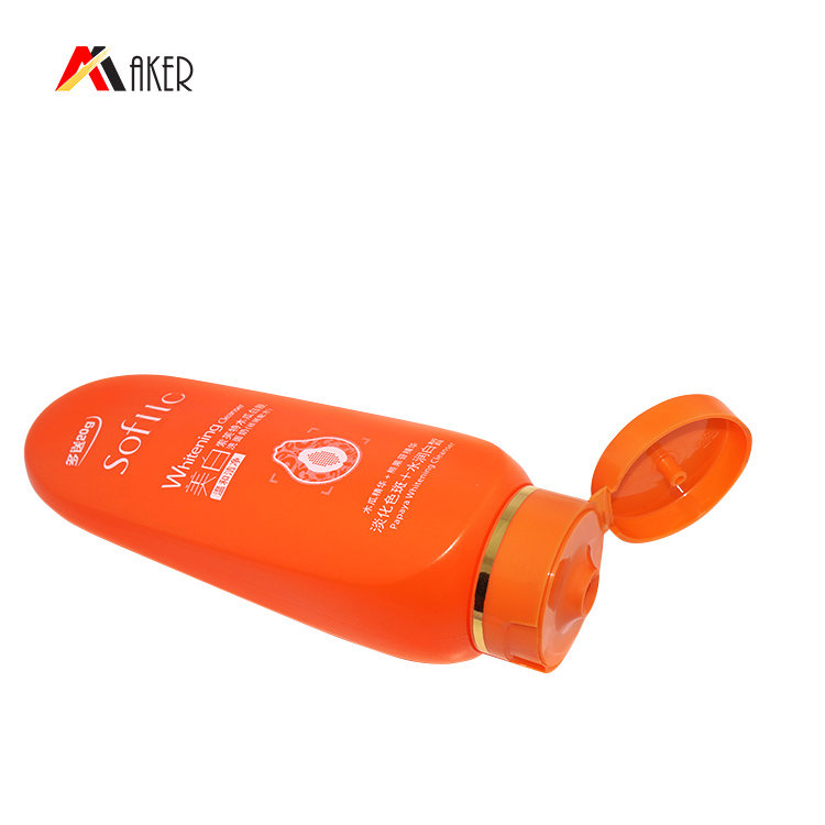 100ml flat squeeze PE  plastic bottle new design orange color cosmetic cream bottle with flip top cap