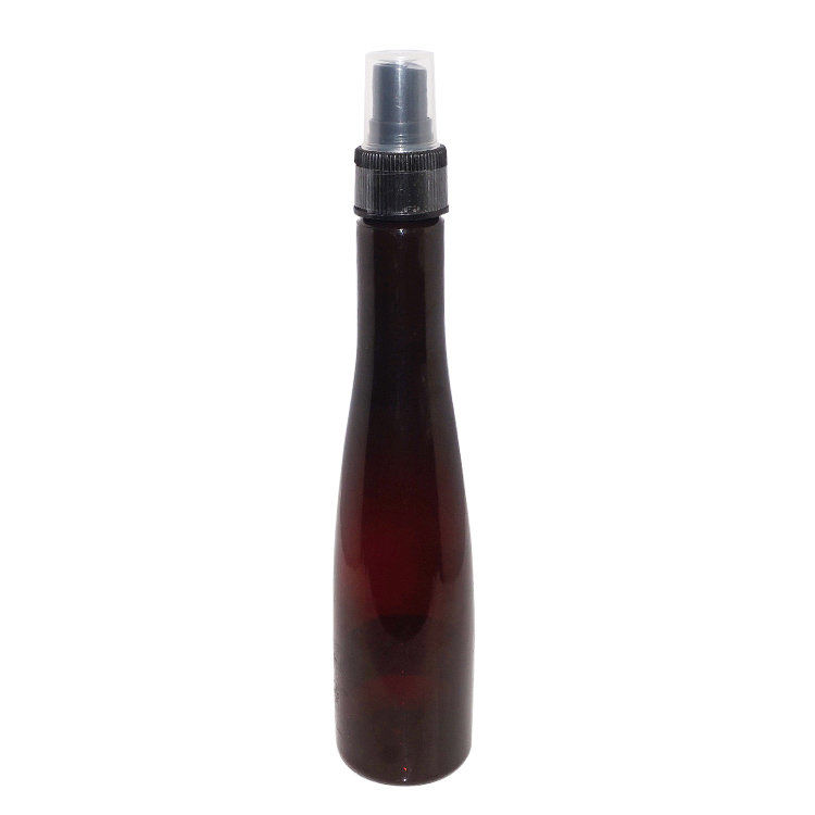 Empty brown 200ml mosquito repellent bottle China manufacturer special shape PET plastic spray bottle with mist sprayer