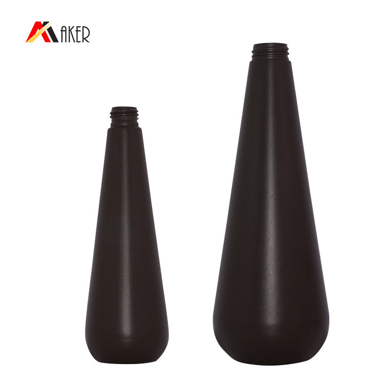 Factory price unique shape empty brown 350ml 1000ml PE plastic cosmetic shampoo bottle set with lotion pump