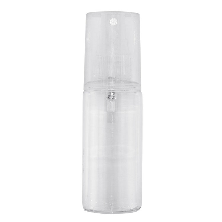 Empty blcak cylinder PET skin care bottle 50ml 70ml 100ml 120ml clear cosmetic toner spray plastic bottle with mist sprayer