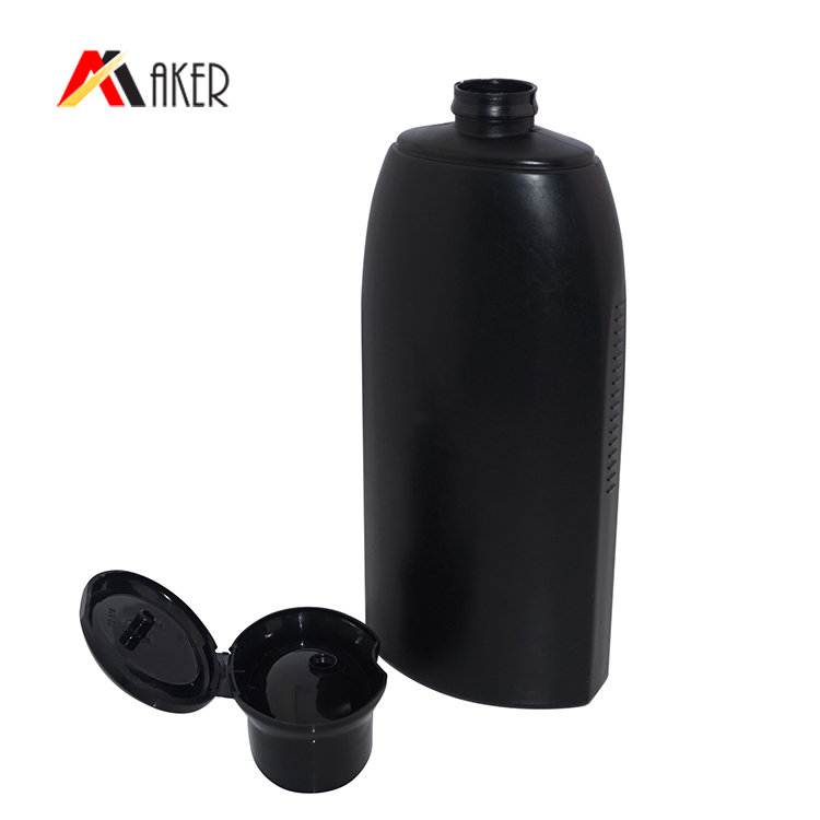 500ml black plastic bottle factory supplier empty PE plastic shampoo bottle with flip top cap