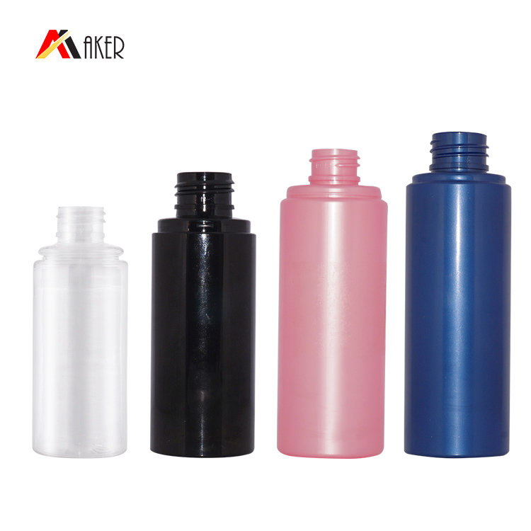 Empty 50ml 70ml 100ml 120ml black clear cylinder PET cosmetic skin care toner spray plastic bottle with mist sprayer