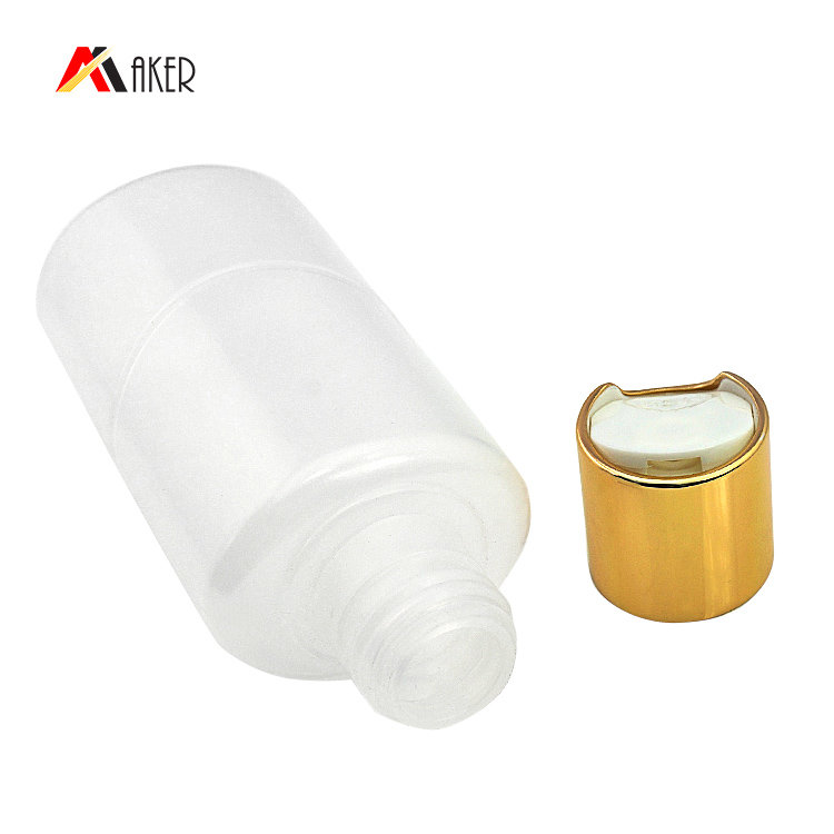 100ml cosmetic lotion bottle wholesale price flat shape PE plastic bottle with gold aluminum covered disc cap
